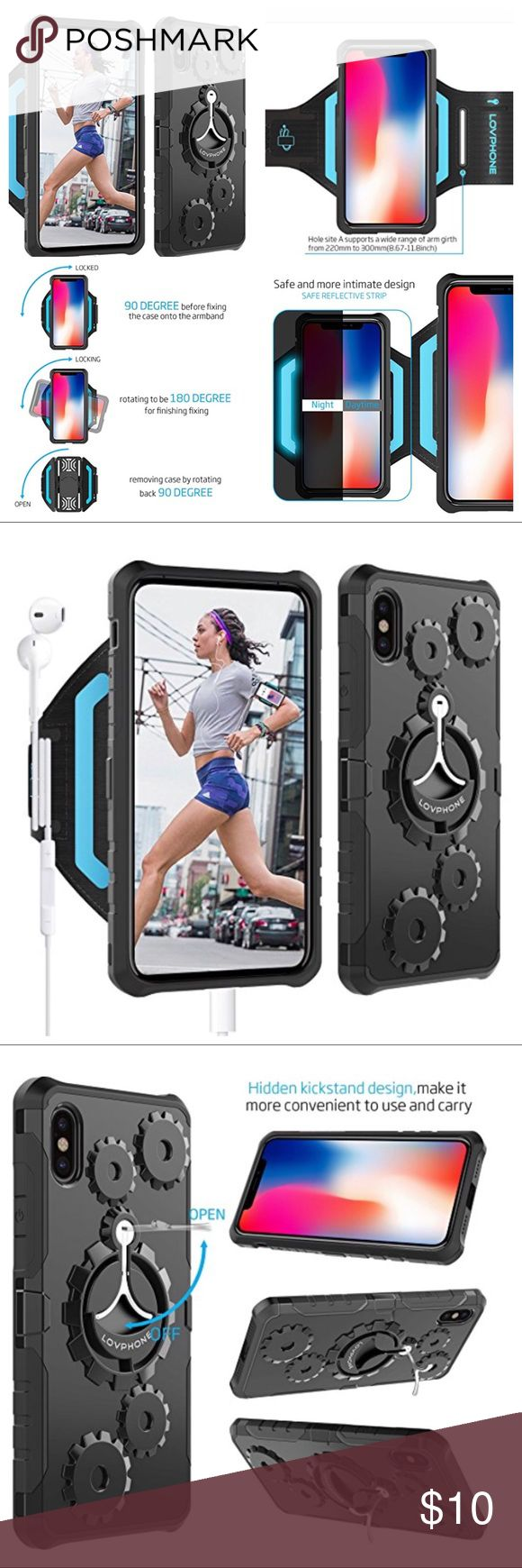 IPHONE X SET CASE AND ARMBAND KICKSTAND REFLECTIVE Armband & Armour Case Set Multifunctional Sport Running Armband + Premium Protective Case with Kickstand for iPhone X. Sport Running armband with Premium PC+TPU protective Case. The 2 Piece Slim Shield &/or as a armband, or use the phone case separately by rotating 90 degree to take the case off to use as sports armband. Case is made from the highest quality material to ensure the protection of your phone. It is designed for easy…