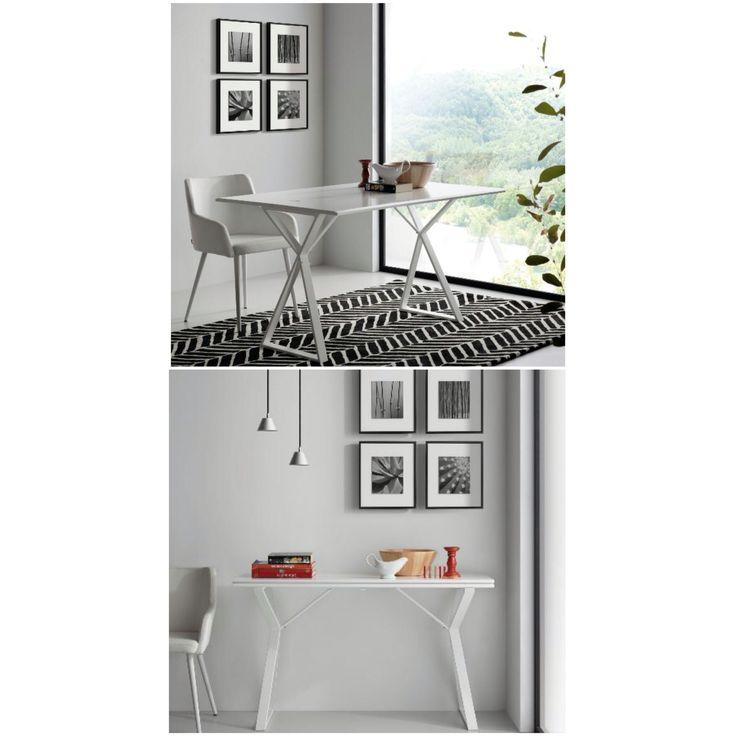 Liten plass?  Lekkert bord du enkelt kan slå sammen til halve bredden.  www.mirame.no #bord #spisebord #kjøkken #spisestue #mirame #interior #konsoll #konsollbord #nettbutikk #vakrehjemoginteriør #nordiskehjem #nordiskdesign #innredning #glass #atik #norsk #oslo #møbler #rom123