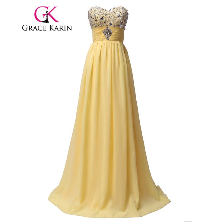 Cheap new arrival prom dress, Buy Quality prom dresses yellow directly from China prom dresses Suppliers: Grace Karin New Arrival Prom Dress Yellow Chiffon Long Vestido De Festa Longo Sequined Cheap Evening Dress Party Elegant 2017