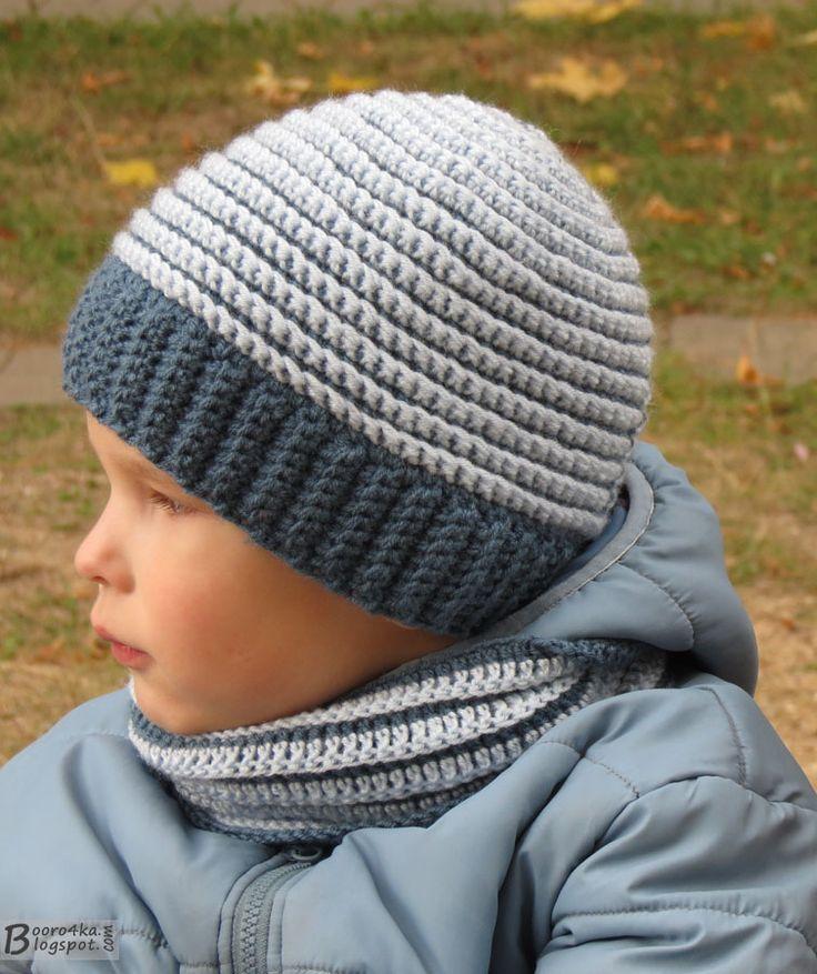 шапка и шарф-снуд для мальчика, шапка в полоску, шапка спицами, шарф-снуд крючком