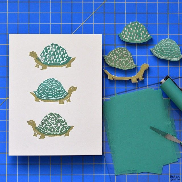 Morning fun hand stamping these tortoise blocks I carved yesterday! Looking forward to working these as well as the snails into some repeat patterns soon and possibly some art prints!