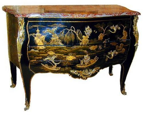 An Exceptional 18th Century French Louis XV Black and Gold Lacquer Chinoiserie Commode,