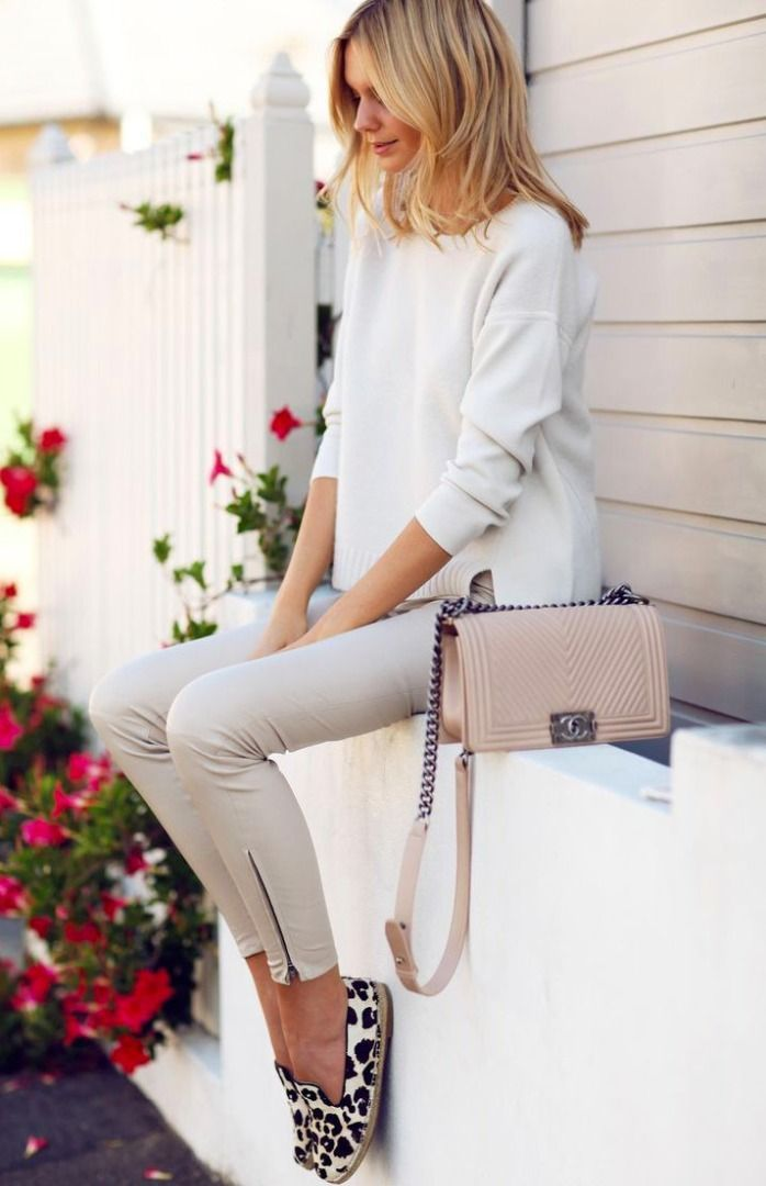 love the pants with the zipper detail, and once again neutrals!