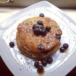 Fluffy Gluten-Free Vegan Blueberry Banana Pancakes - Whole Healthy Glow