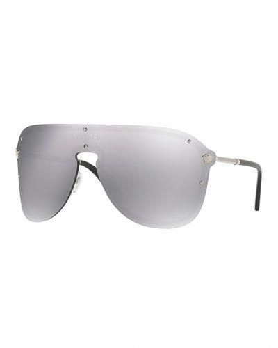 8ef1c41f26ac VERSACE Greek Key Shield Sunglasses