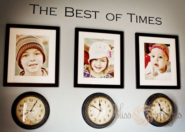 Clocks stopped at the time each child was born--- I guess this is cute, but the thought of having three NON WORKING clocks on my wall drives me crazy.