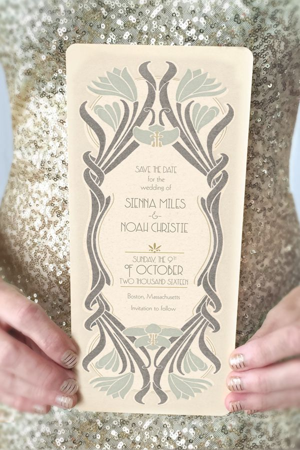 GoGoSnap! Wedding invitations brand new design! It's is a perfect blend of Art Nouveau merging into Art Deco. These invitations can accommodate your custom wording and wedding colors and can be used alone as Save the Dates or in a full invitation suite, programs, signage etc. Perfect to set the tone of your vintage inspired wedding!