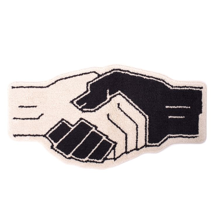 Essential made in Japan Powers Handshake Rug done by New York based artist/designer Eric Elms alongside Los Angeles based artist/designer Kyle Ng of Brain Dead! The Power is strong.