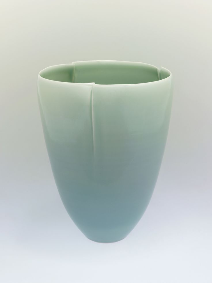 "Fukami Sueharu.  Japanese, born 1947.  ""Pure-pure"" Seihakuji bowl, 2004.  Glazed porcelain. In Japanese known as seihakuji glaze, ""traditionally noted for its subtle color gradations of icy blue, especially in areas of glaze pooling."""