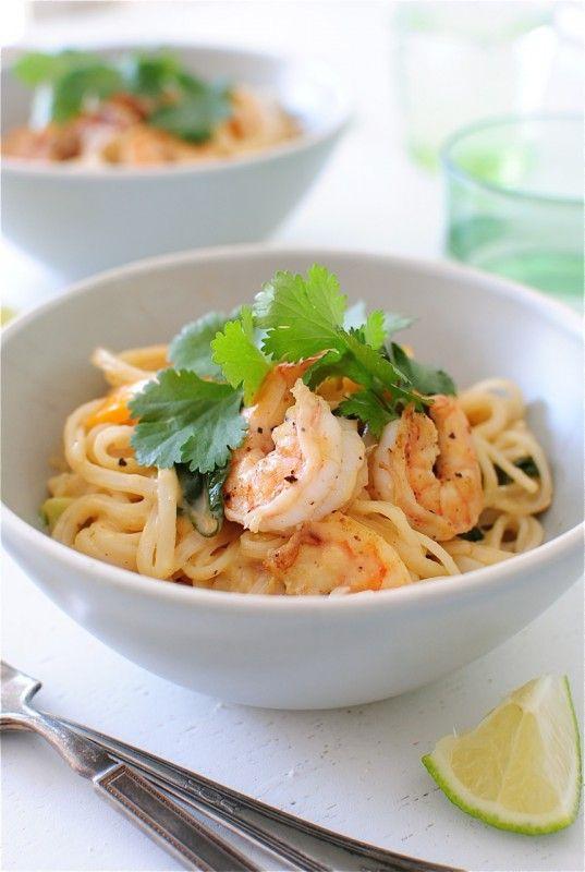 One-Pan Coconut Shrimp Noodle Bowls / Bev Cooks