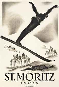 """St. Moritz,"" Carl Moos, ca. 1926, color lithograph, 40 x 27½"", private collection."