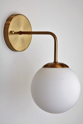 Mr Ralph | OPAL GLOBE Wall Sconce and BRASS - TREND, Wall Lights $199