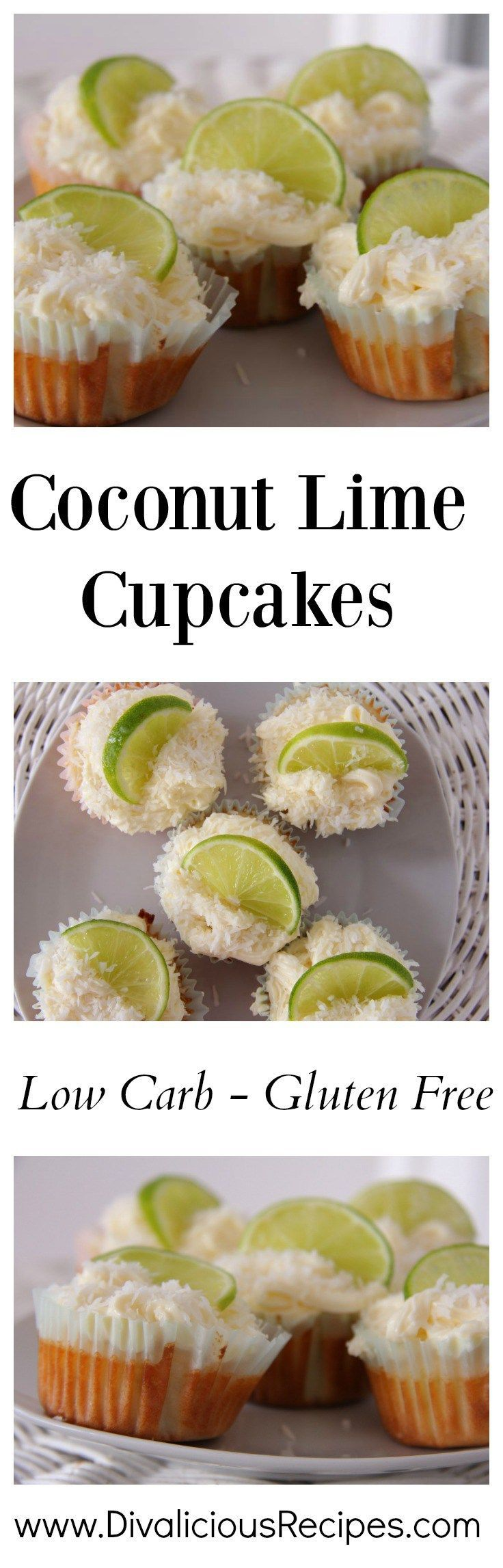 coconut lime cupcakes made with coconut flour.  Recipe - http://divaliciousrecipes.com/2014/11/14/coconut-lime-cupcakes-coconut-flour/