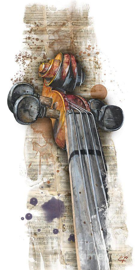 Violin 01 Elena Yakubovich Painting                                                                                                                                                                                 Más