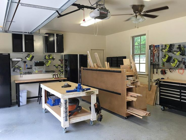 I gave my shop a little makeover...❤️ You can find the plans to build the workbench and lumber cart on our site!  The cabinets are Husky brand from @homedepot.  I discovered the metal pegboard system online and fell in L❤️VE!  It's a brand called Wall Control!  Look em up! #shanty2chic #hgtv #OpenConcept