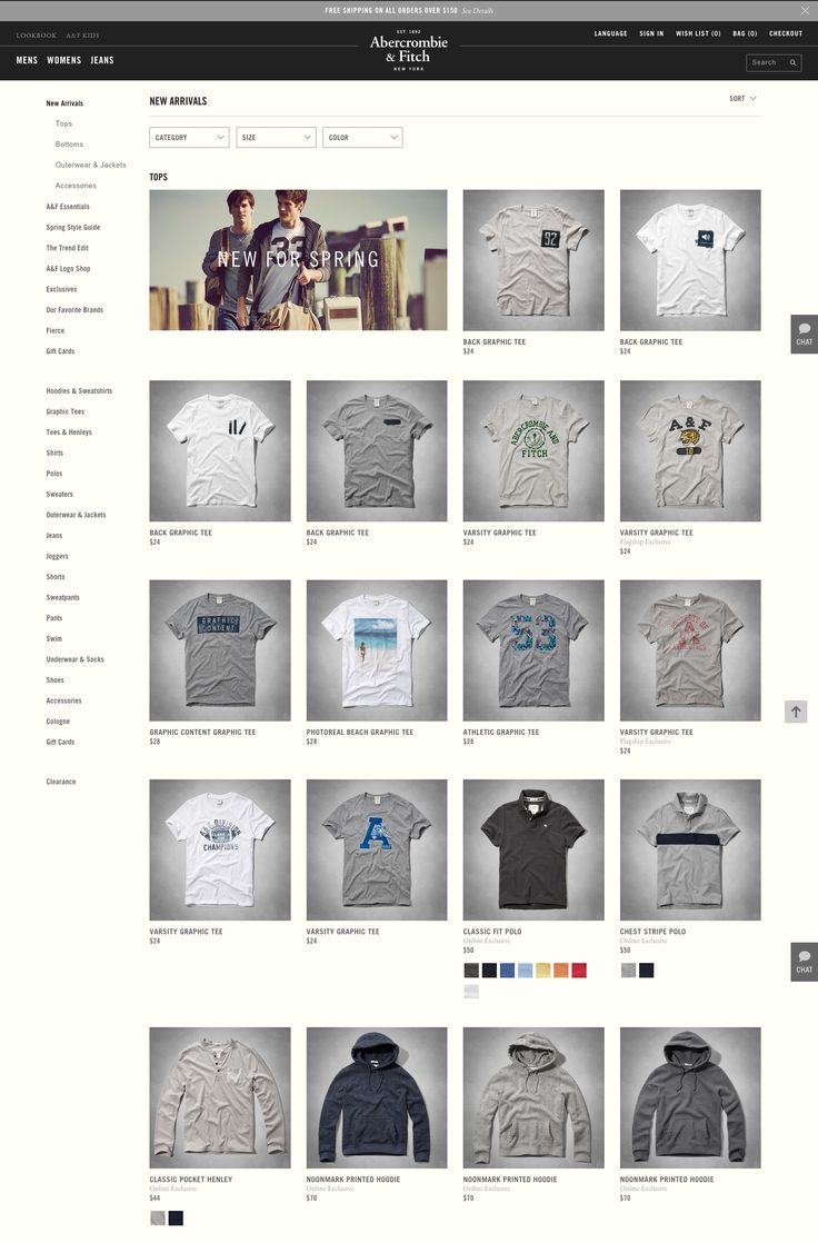 Product Listing (A&F) Notes: - simple filters - open left col - color options on product listing - chat tab