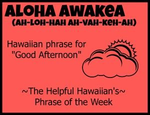 how to say good afternoon in hawaiian