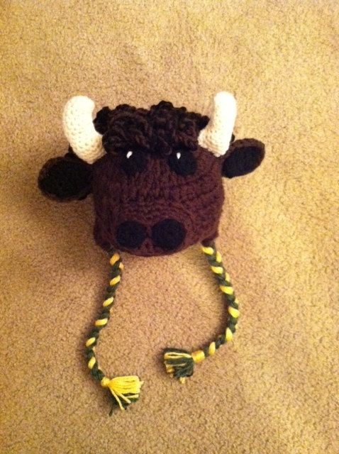 Made To Order Bison Buffalo Bull Crochet Hat Save