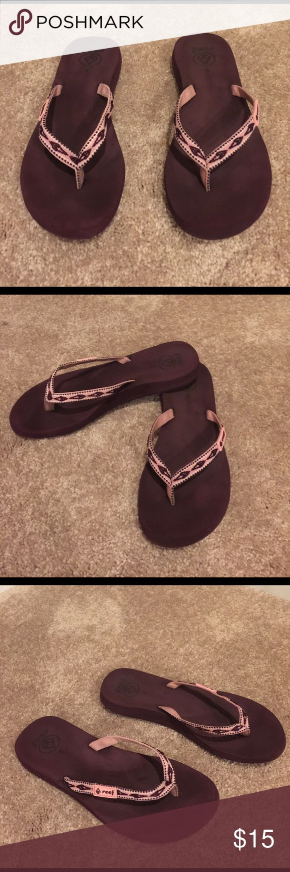 🌺🦋 REEF 🦋🌺PERFECT Pink & Purple Flip Flop SZ 8 🌺🦋 REEF 🦋🌺PERFECT Pink & Purple Flip Flop SZ 8 super soft and comfy with arch support.  Reef's are made well and provide the support so that you can comfortably walk in them for hours.  There awesome flip flops Preloved in great condition. Small mark on top right which you will not when your feet are in them. Reef Shoes Sandals