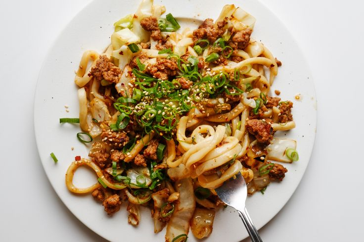 You can easily make this stir-fried udon recipe vegetarian—omit the pork and sub in 8 oz. shiitake or crimini mushrooms.