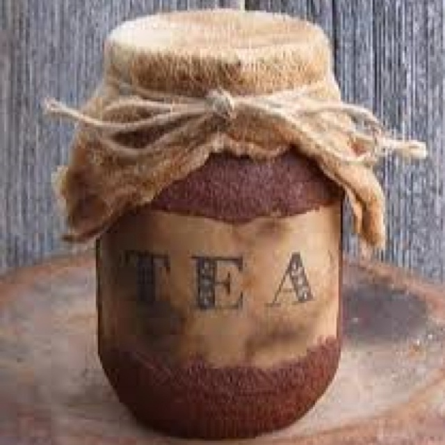 grungy tea jar...coat jar with water based poly and sprinkle with cinnamon. repeat and finish with another coat of poly