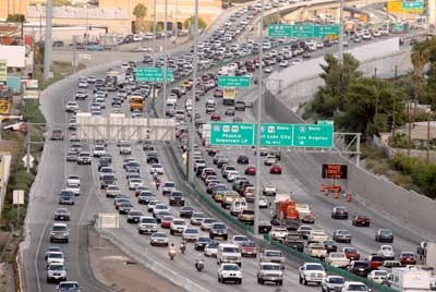 Traffic in Toronto -- largest highway in Canada, the 401.
