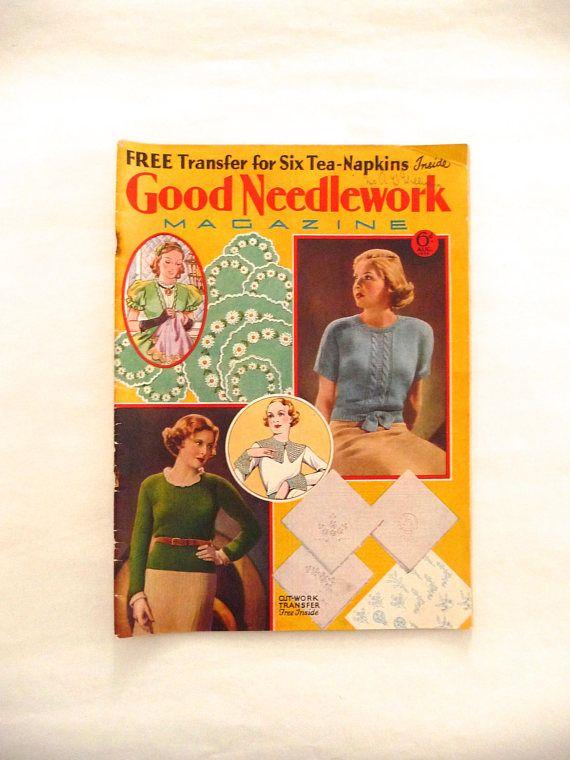 Good Needlework Magazine 1934 Vintage Knitting and Embroidery