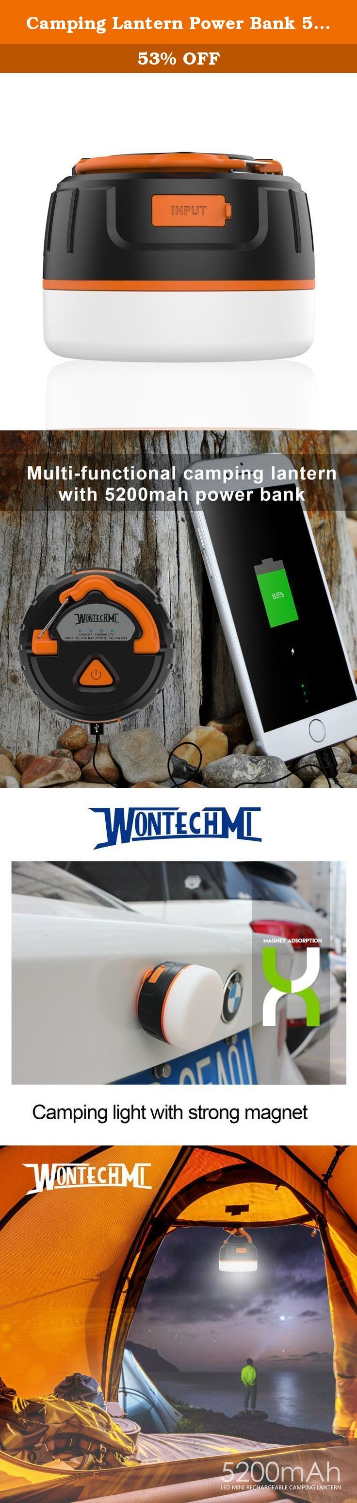 Camping Lantern Power Bank 5200 mah, WONTECHMI Waterproof Rechargeable 200 Lumen LED Light and Strong Magnet, Perfect for Tents, Camping, Hiking and Christmas gift. WONTECHMI Camping Lantern- - the best choice for outdoor activities Rechargeable camping lantern is not only a fashion lantern but a power bank with lithium battery inside. It can be hanged upon the tent hook or be laid out horizontally on the desk as a reading light. What's more, the strong magnet allows you to put the…