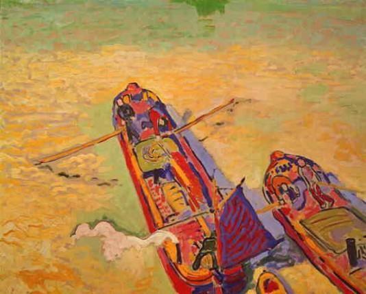 'Lastkahn auf der Seine', öl von André Derain (1880-1954, France)