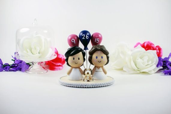 Personalize your big day with this adorable two brides + pup cake topper.
