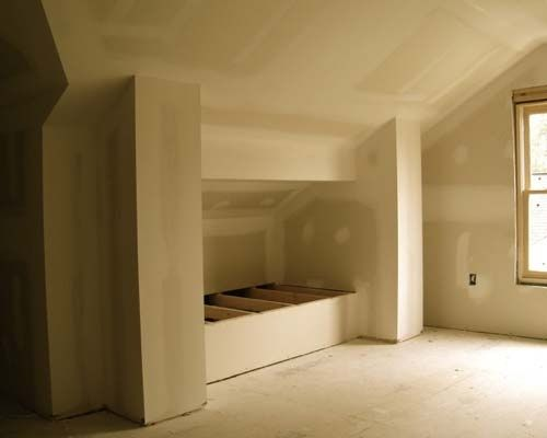 Attic built in beds roughed in idea for built in beds in for Attic loft bed