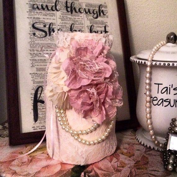Wedding lace mason jar painted mason jar pearls and lace by OhLOLAandco