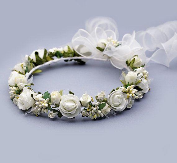 Ivory flower crown Ivory flower Headband Ivory by FloralHeadpiece