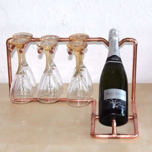 """""""Botellero"""" para una botella de cava o champan mas 6 copas*. Hecho de tubo de Cobre de 12 mm *Las copas no están incluidas   Síguenos desde aquí..."""