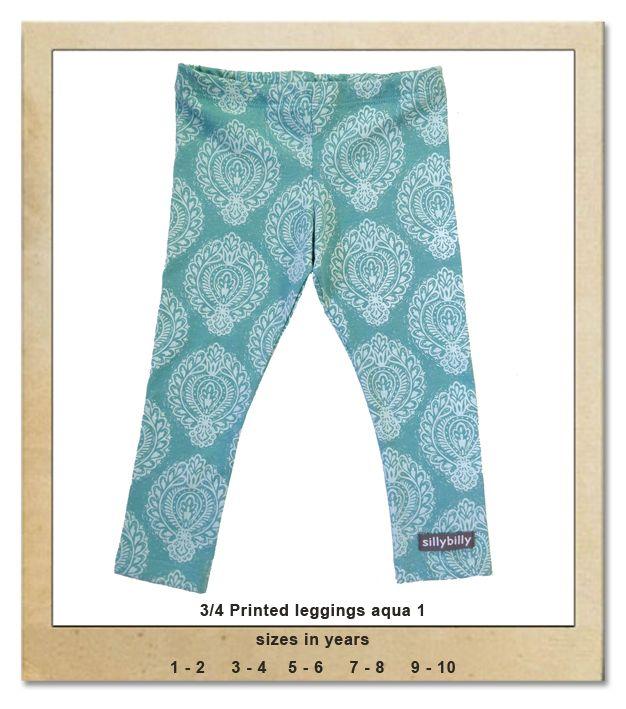 Sillybilly© clothing: 3/4 printed leggings aqua 1