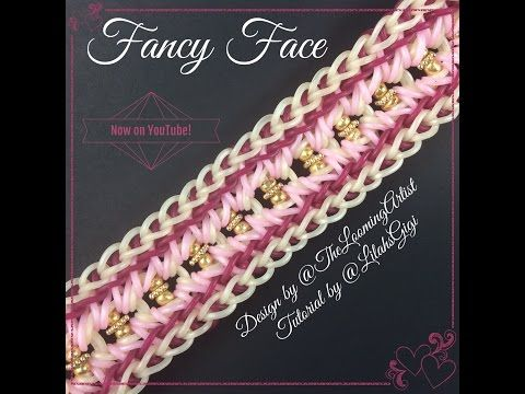 NEW Rainbow Loom FANCY FACE Bracelet (5 Pin Bar) - YouTube