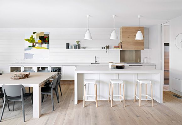 7. Modern classic, white & grey warmed by natural timber. Shaker style cabinets