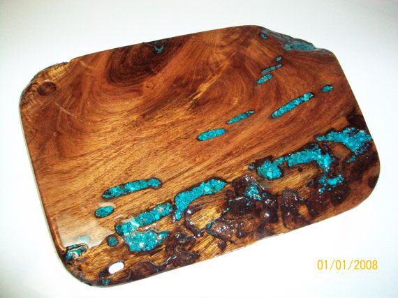 Cutting Board W Turquoise Inlay Mesquite Wood