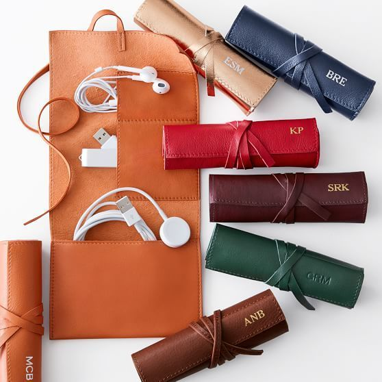 Leather Charger Roll Up. For the chic tech-setter: made from soft and supple leather, this is the classiest way to transport chargers.