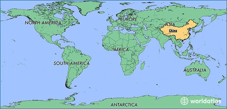 """""""Location of China"""" China is located in Asia and it covers 9,569,901 kilometers. It shares borders with 16 countries, which include Russia, Laos, and even Afghanistan."""