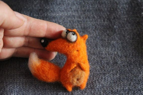 brooch fox Брошка лиса от ShopHandmadeToys на Etsy