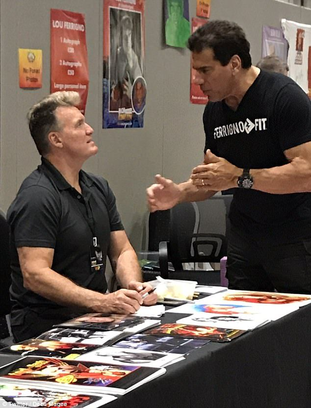Sam J Jones, who played Flash in the 1980 film, and Lou Ferrigno, famous for his role as Hulk in the 1970s TV series, got into a blazing row while signing autographs and posing for photos