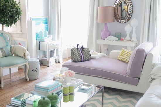 modern chic gray purple turquoise living room