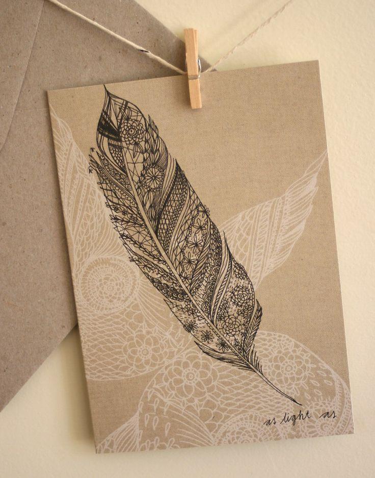 Single Card - Feather - Greeting or Birthday (blank). $5.00, via Etsy.