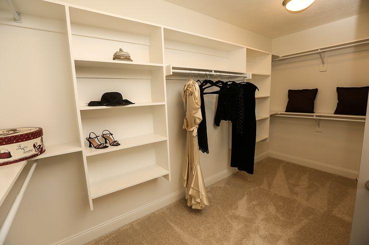 Master Closet in Master Bathroom #master #closet #wood #shelving #sweater #boxes #large #3 #pillar #homes #jerome #village #plain #city #ohio #dublin #schools #custom #builder #real #estate #luxury #dream #interior #design #staging #storage #organization #railing