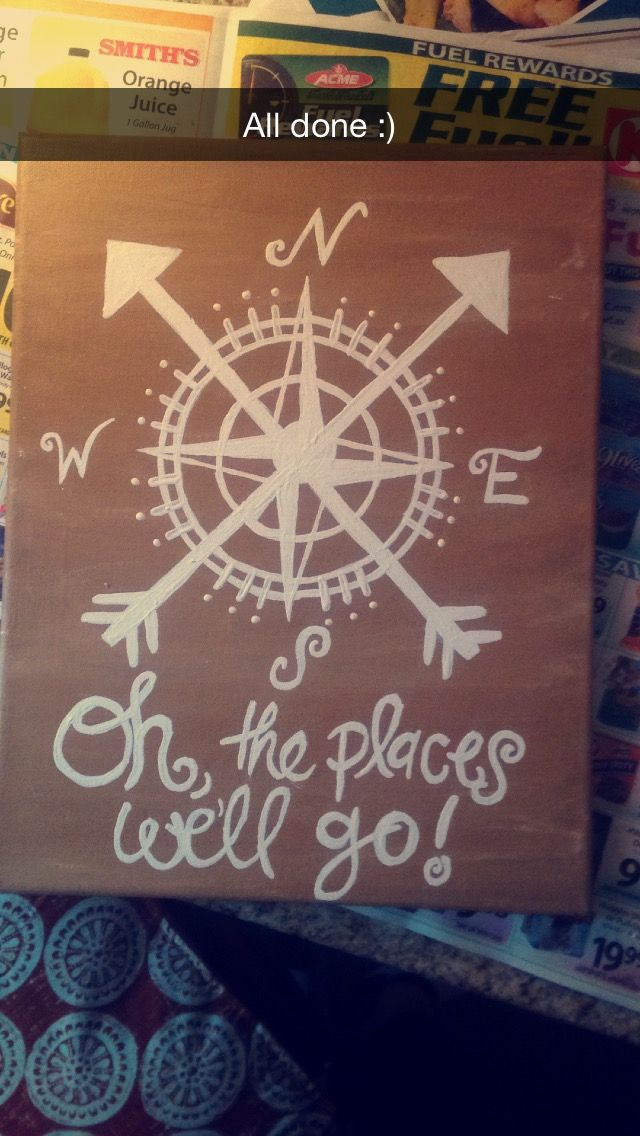 """oh the places we'll go!"" travel, compass canvas"