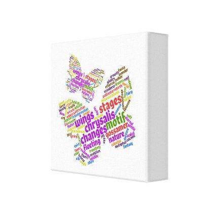 Inspirational Elegant Butterfly Tag Cloud Canvas Print - decor gifts diy home & living cyo giftidea