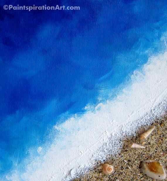 Spiaggia oceano dipinto Decor con vera sabbia e di Paintspiration