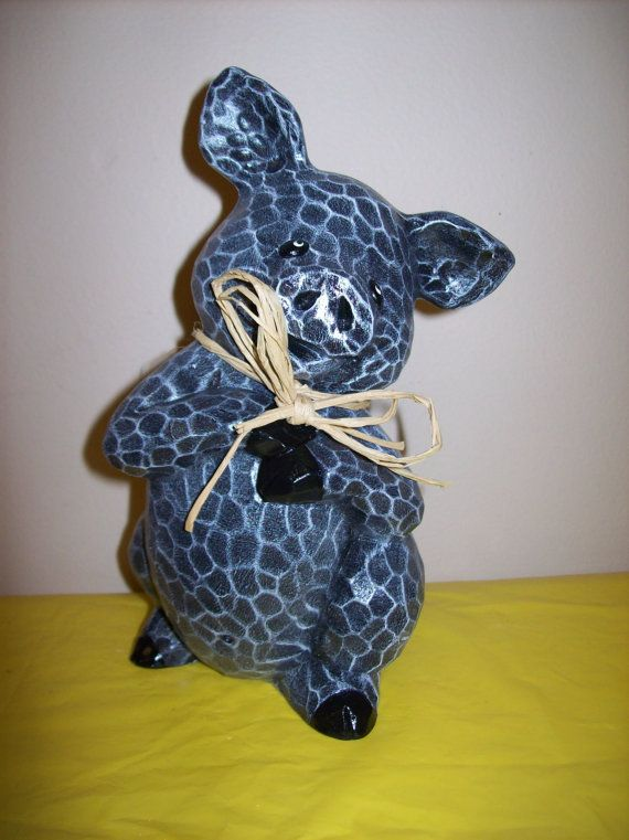 Hand Painted Ceramic Pig Decoration by Cinstreasures on Etsy, $16.50
