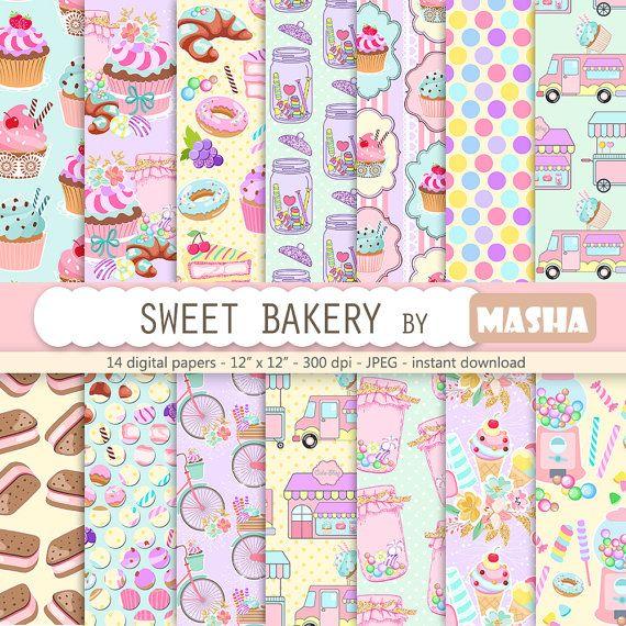 Sweet digital paper: SWEET BAKERY digital papers by MashaStudio #cake #digital #paper #bakery #patterns #graphics #candy #pattern # #lollipop #truck #jar #sweets #trats #scrapbooking #printable #ice #cream